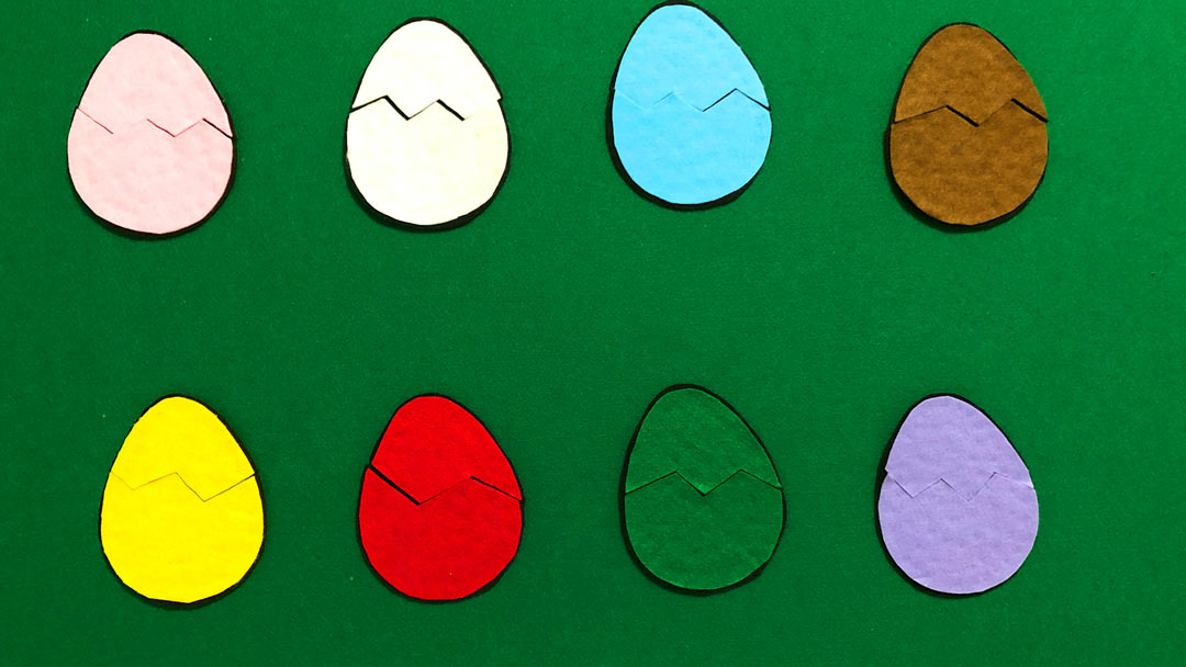 Flannelboard Colorful Eggs English Activity for Children