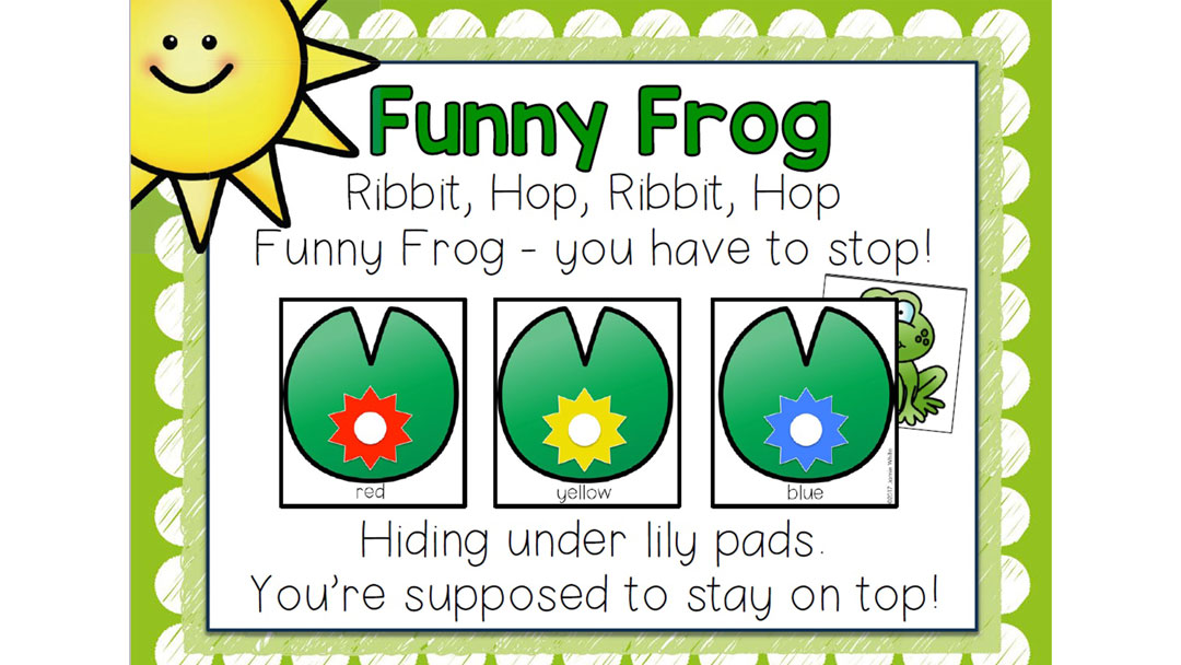 Repeat the Funny Frog Rhyme and play the game in English class
