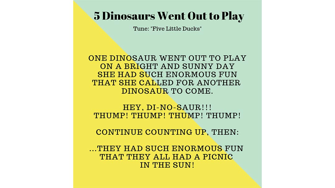 Lyrics to the Song Five Dinosaurs Went Out to Play to the tune of Five Little Ducks